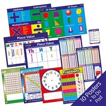 Maths Posters for Home Learning - Value Pack (10 Posters - A2 - 620mm x 420mm)