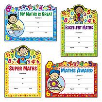 Maths Reward Certificates - Cut Out Design (20 Certificates - A5) Brainwaves