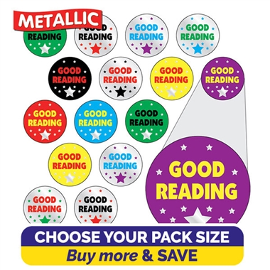 Metallic Good Reading Stickers (10mm)