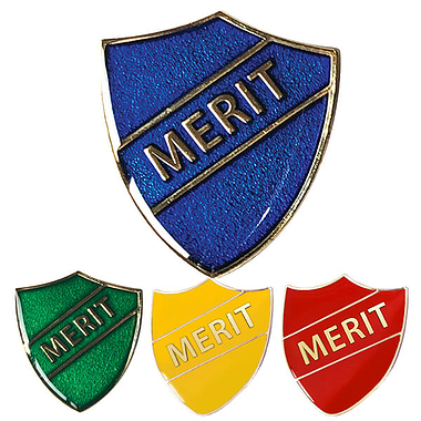 Merit Shield Badge - Enamel (4 Colour options)