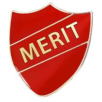 Merit Shield Badge - Enamel (Red)