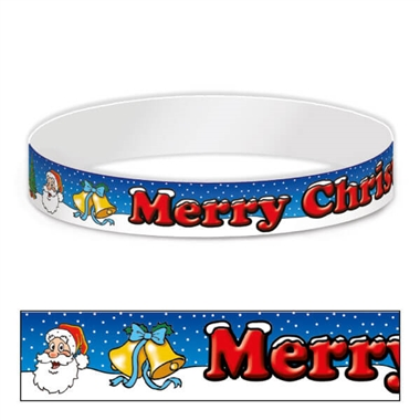 Merry Christmas Adhesive Paper Wristbands (30 Wristbands - 220mm x 15mm)