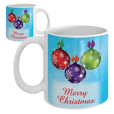 Merry Christmas - Ceramic Mug (Baubles)