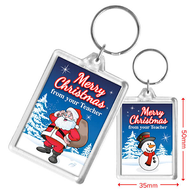 Merry Christmas from your Teacher Snowman Acrylic Keyring (50mm x 35mm)
