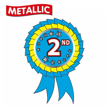Metallic 2nd Place Rosette Stickers (25 Stickers - 54mm x 37mm)