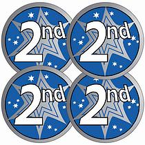 Metallic 2nd Place Stickers (37mm x 35)