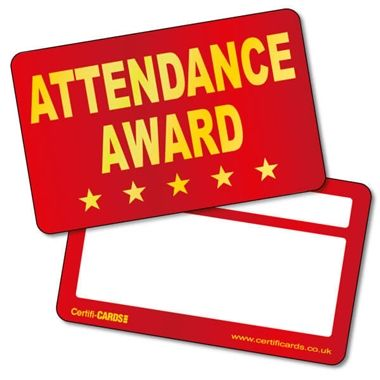 Metallic Attendance Award Plastic CertifiCARDS (10 Wallet Sized Cards)