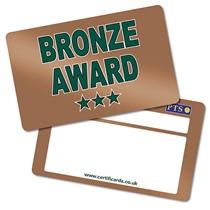 Metallic Bronze Award CertifiCARDS (10 Wallet Sized Cards)