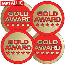Metallic Gold Award (35 Stickers - 37mm)