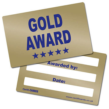Metallic Gold Award Plastic CertifiCARDS (10 Wallet Sized Cards)