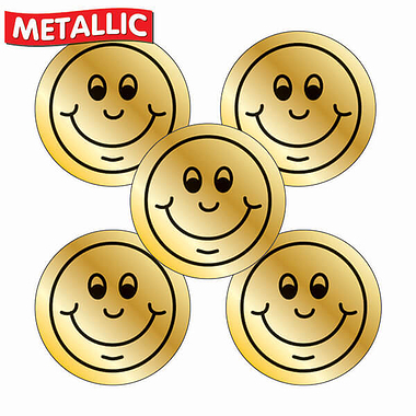 Metallic Gold Smile Stickers (70 Stickers - 25mm)