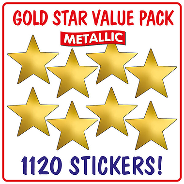 Metallic Gold Star Stickers Value Pack (1120 Stickers - 18mm)