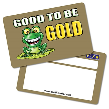 Metallic 'Good to be GOLD' CertifiCARDS (10 Wallet Sized Cards)
