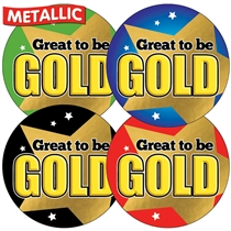 Metallic Great to be Gold Stickers (35 Stickers - 37mm)