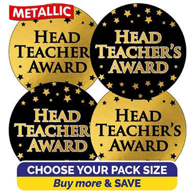 Metallic Head Teacher's Award Stickers (37mm)