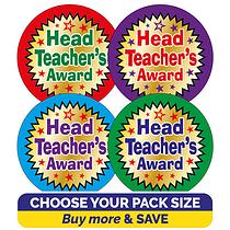 Metallic Head Teacher's Award Stickers (37mm) Brainwaves