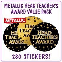 Metallic Head Teacher's Award Stickers Value Pack (280 Stickers - 37mm)