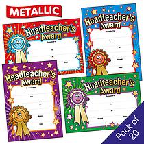 Metallic Headteacher's Award Certificates (20 Certificates - A5) Brainwaves