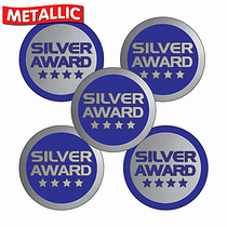 Metallic Silver Award Stickers (70 Stickers - 25mm)