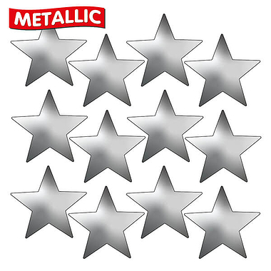 Metallic Silver Star Stickers (140 Stickers - 18mm)