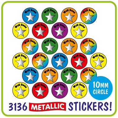 Metallic Star Stickers Value Pack (3136 Stickers - 10mm)