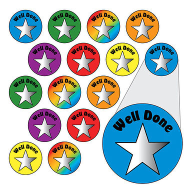 Metallic Star Stickers - Well Done (196 Stickers - 10mm)