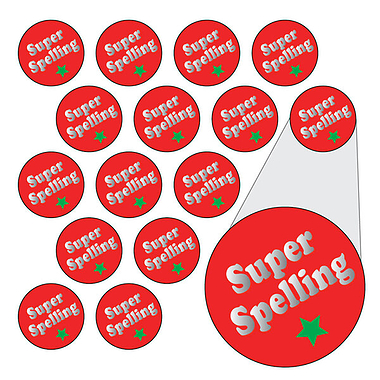 Metallic Super Spelling Stickers (196 Stickers - 10mm)