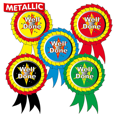 Metallic Well Done Rosette Stickers (25 Stickers - 54mm x 37mm)