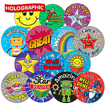 Mixed Sparkly Stickers in Various Sizes Holographic  (30 Stickers)