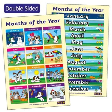 Months of the Year Double Sided Poster (A2)
