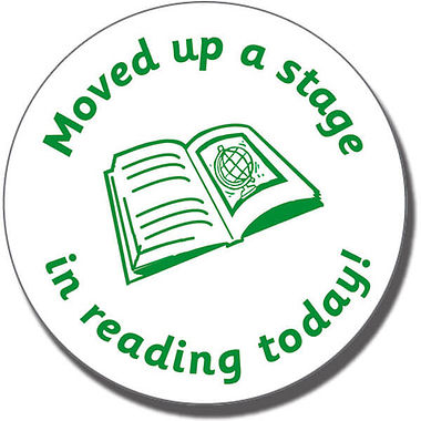 Moved Up a Stage in Reading Today!' Stamper - Green Ink (21mm)