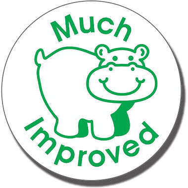 'Much Improved' Hippo Stamper (21mm, Green Ink)