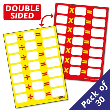 Multiplication & Division Tables Sum Pupil Cards - Dry Wipe (30 Cards - A6)