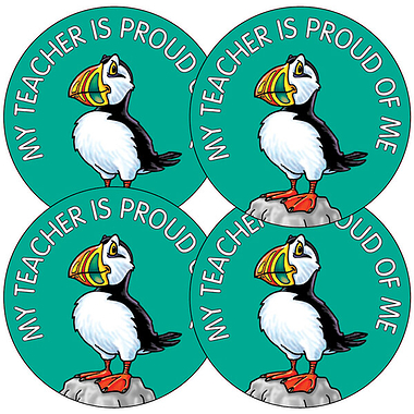 My Teacher Is Proud of Me Stickers - Puffin (35 Stickers - 37mm)