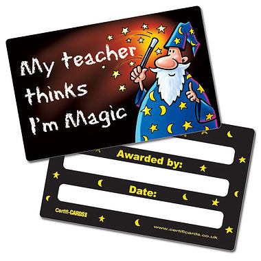 My Teacher Thinks I'm Magic CertifiCARDS (10 Cards - 86mm x 54mm)
