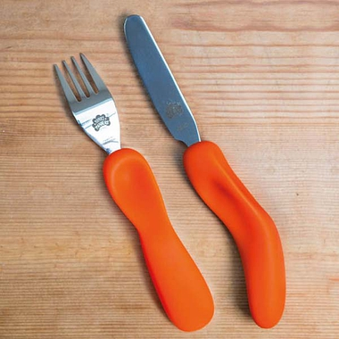 Nana's Manners Knife and Fork Set with Orange Handles
