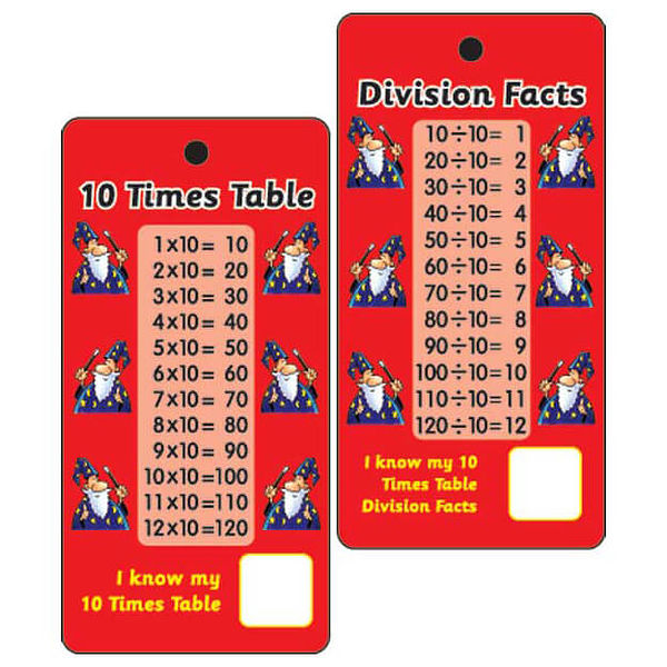 10 times tables division facts pocket prompts pack of 10 for 10 times table song