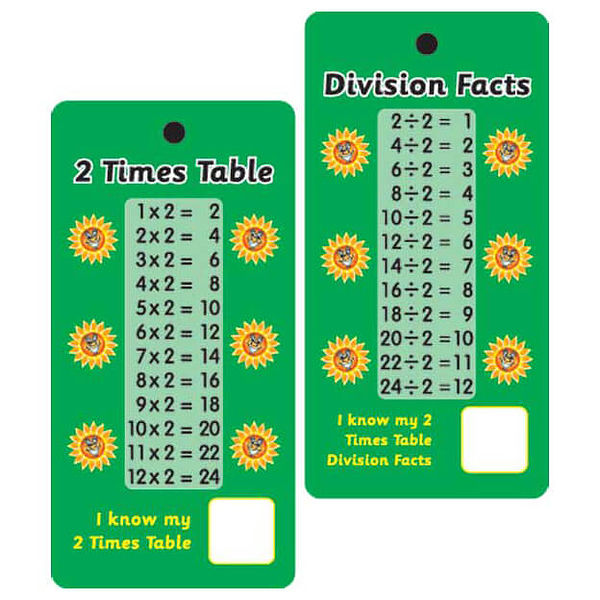 2 Times Tables Amp Division Facts Pocket Prompts Pack Of 10