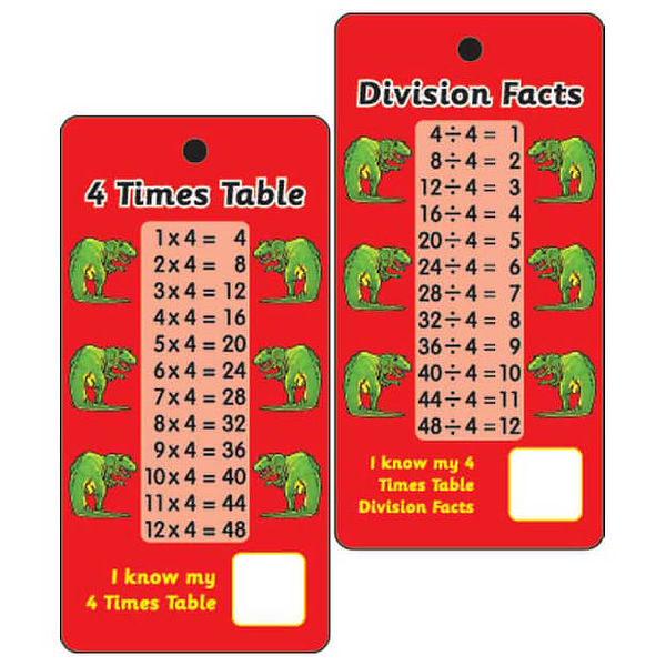 Pocket prompts 4 times tables division facts pack of 10 for Table de division 52