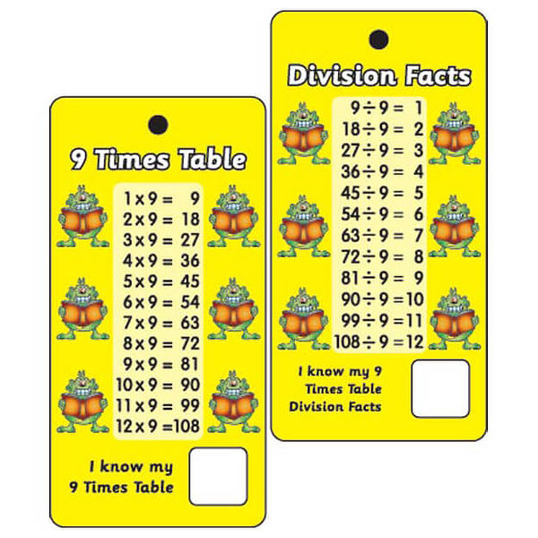 Pocket prompts 9 times tables division facts pack of 10 for Table de division de 99