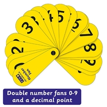 Number Fans - Laminated (0-9 Double Set with Decimal Point)