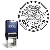 One Pound Coin Pre-inked Stamper - Black Ink (25mm)