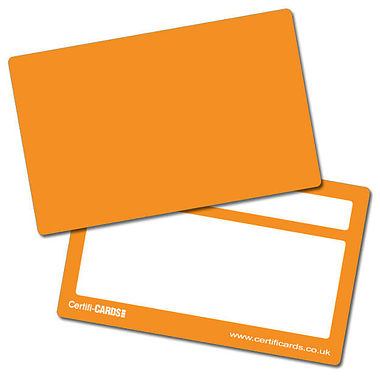 Orange Plastic CertifiCARDS (10 Wallet Sized Cards)