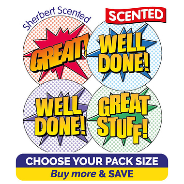 Scented Stickers Comic Words - Cola (32mm) TEACHERS' FAVOURITE SCENT