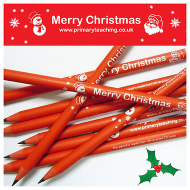 Pack of 10 Merry Christmas Recycled Pencils