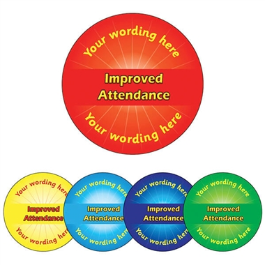 Personalised Improved Attendance Stickers (70 per sheet - 25mm)