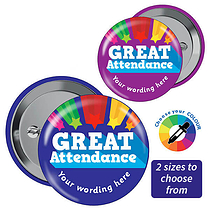 Great Attendance Personalised Badges (3 sizes, pack of 10)