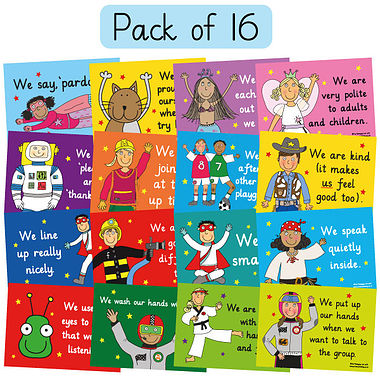 Pedagogs Classroom Manners Posters (16 Posters - A4)