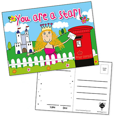 Pedagogs Glittery Postcards - You're a Star - Princess (20 Certificates - A6)