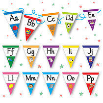 Pedagogs Laminated Alphabet Bunting (A-Z Flags)
